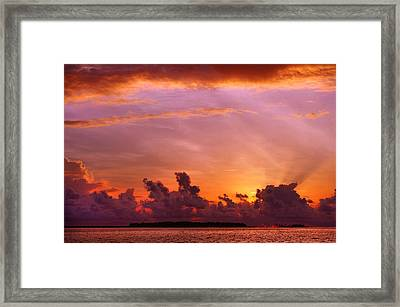 Show Must Go On. Tropical Sunset Framed Print by Jenny Rainbow
