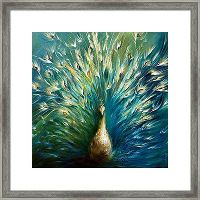 Show Off 3 White Peacock Framed Print by Dina Dargo