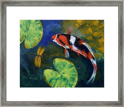 Showa Koi And Dragonfly Framed Print by Michael Creese