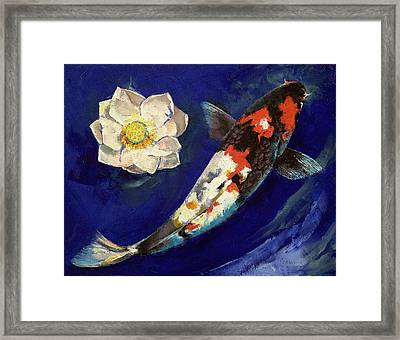 Showa Koi And Lotus Flower Framed Print by Michael Creese