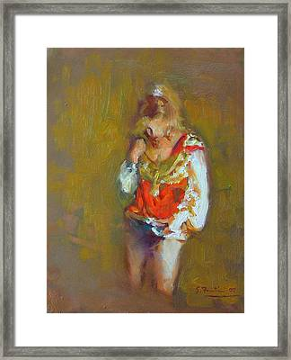 Showgirl In Orange And Gold Framed Print