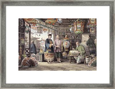 Showroom Of A Lantern Merchant Framed Print