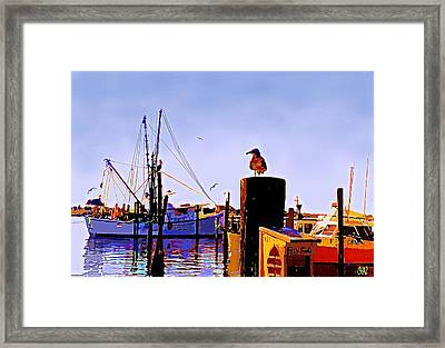 Shrimp Boat At Dock Framed Print