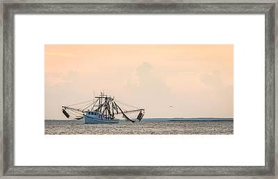 Shrimp Boat At Sunset - Edisto River Photograph Framed Print by Duane Miller