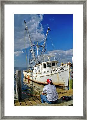 Shrimp Boat Framed Print by Geraldine Alexander