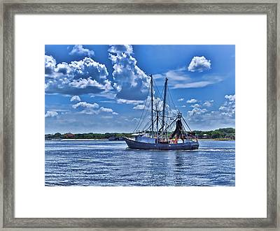 Shrimp Boat Heading To Sea Framed Print by Ludwig Keck