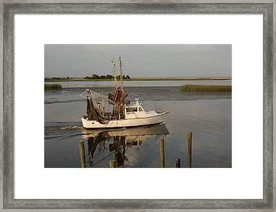 Shrimp Boat On Apalachicola Bay Framed Print