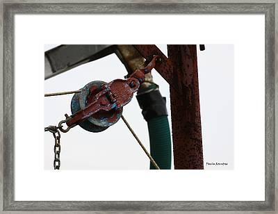 Shrimp Boat Pulley Framed Print by Paula Rountree Bischoff