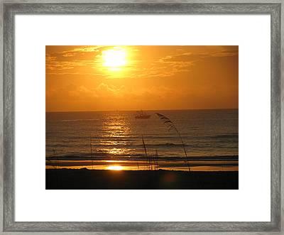 Shrimp Boat Sunrise Framed Print