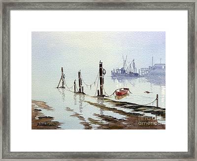 Shrimp Boat With Evening Lights Framed Print by Bill Holkham