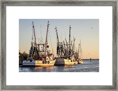 Shrimp Boats At Sunset Framed Print by Curtis Cabana