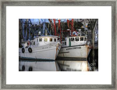 Shrimp Boats Reflecting Framed Print by Dale Powell