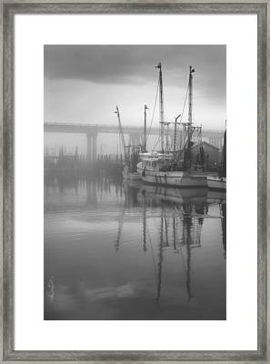 Shrimp Boats In The Fog - Black And White Framed Print