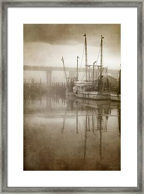 Shrimp Boats In The Fog Framed Print