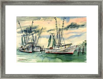 Shrimp Boats In The Keys Framed Print
