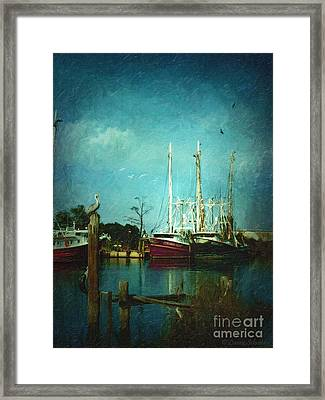 Shrimp Boats Is A Comin Framed Print by Lianne Schneider