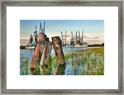 Shrimp Dock Pilings Framed Print