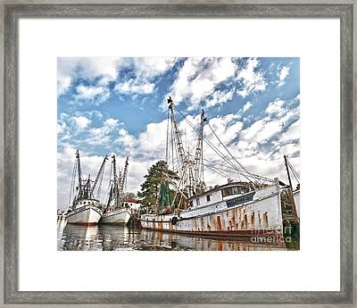 Shrimpers At Rest Framed Print