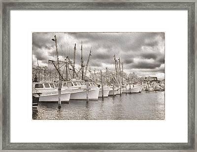 Shrimpers On Harker's Island Framed Print