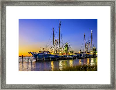 Framed Print featuring the photograph Shrimp Boat Sunset by Paula Porterfield-Izzo