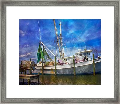 Shrimpin' Boat Captain And Mates Framed Print by Betsy Knapp