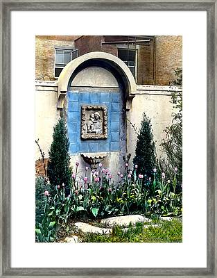 Shrine And Tulips Framed Print by Terry Reynoldson