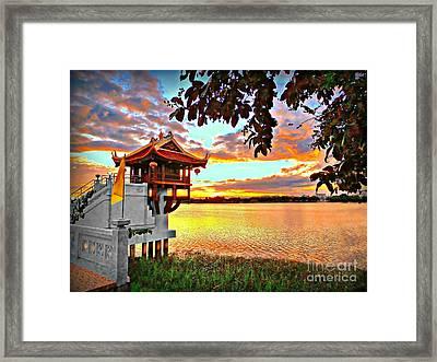 Shrine On The Lake. Framed Print