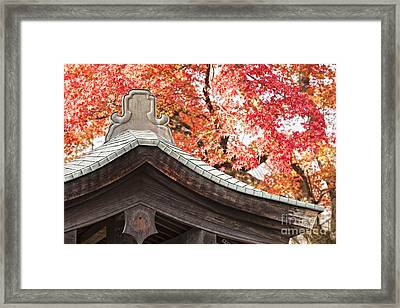 Shrine Roof And Autumn Leaves Arashiyama Kyoto Framed Print by Colin and Linda McKie
