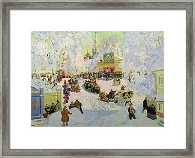 Shrove-tide Framed Print by Boris Mikhailovich Kustodiev