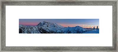 Shuksan Sunset Panorama Framed Print by Mike Reid