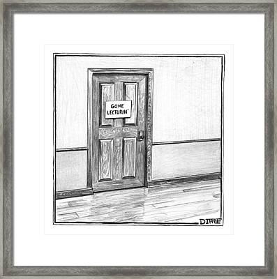 Shut Door In A Hallway With A Sign That Read Gone Framed Print