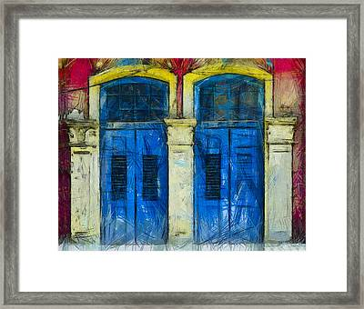 Shutter Doors In Lil India Framed Print