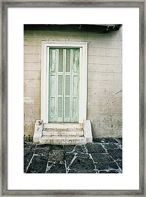 Shuttered Doors Framed Print by Heather Green