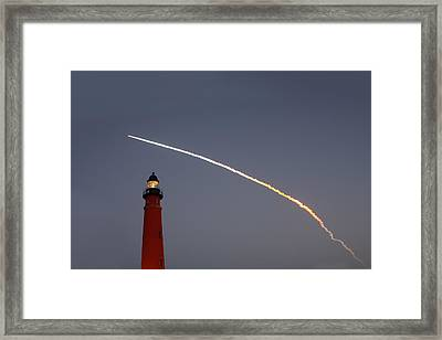 Framed Print featuring the photograph Shuttle Discovery Liftoff Over Ponce Inlet Lighthouse by Paul Rebmann