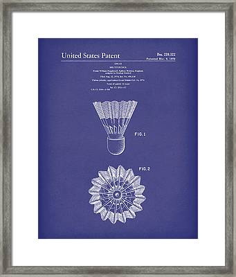 Shuttlecock 1976 Patent Art Blue Framed Print