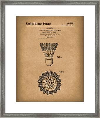 Shuttlecock 1976 Patent Art Brown Framed Print