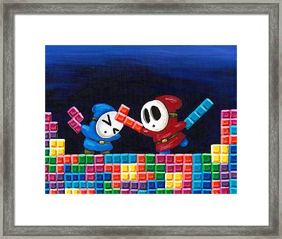 Shy Guys Playing Tetris Framed Print by Katie Clark