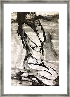 Framed Print featuring the drawing Shy by Helen Syron