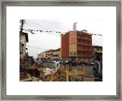 Siaka Stevens Street-wilberforce Street Scene  Framed Print by Mudiama Kammoh