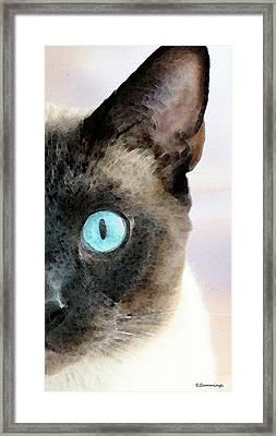 Siamese Cat Art - Half The Story Framed Print by Sharon Cummings