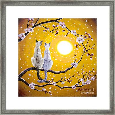Siamese Cats Nestled In Golden Sakura Framed Print