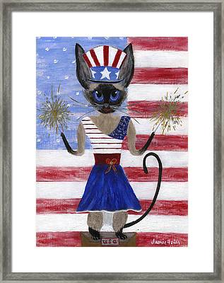Siamese Queen Of The U S A Framed Print by Jamie Frier
