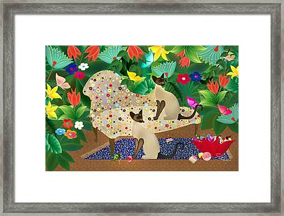 Siameses En Chaise Con Flores Limited Edition 2 Of 15 Framed Print by Gabriela Delgado