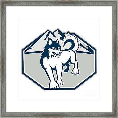 Siberian Husky Dog Mountain Retro Framed Print by Aloysius Patrimonio