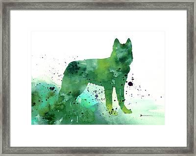 Siberian Husky Dog Silhouette Watercolor Art Print Painting Framed Print by Joanna Szmerdt