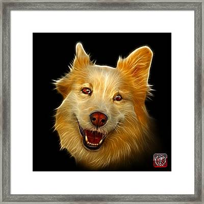 Framed Print featuring the painting Siberian Husky Mix Dog Pop Art - 5060 Bb by James Ahn