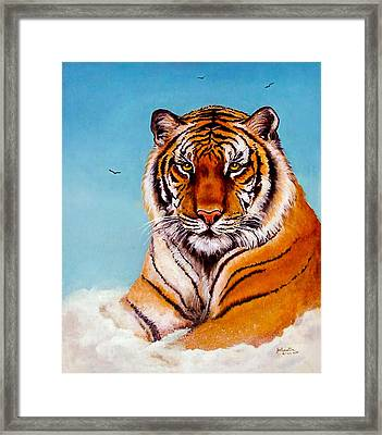Framed Print featuring the painting Siberian King Tiger by Bob and Nadine Johnston