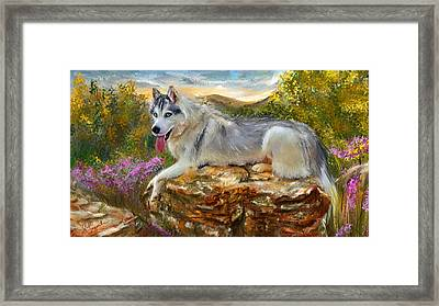 Siberian Leisure - Siberian Husky Painting Framed Print by Lourry Legarde