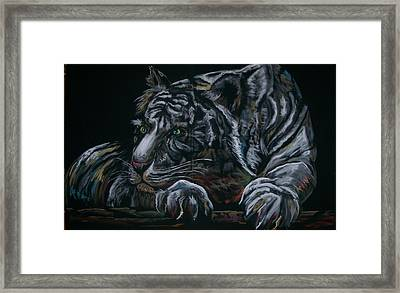 Framed Print featuring the pastel Siberian Tiger by Peter Suhocke