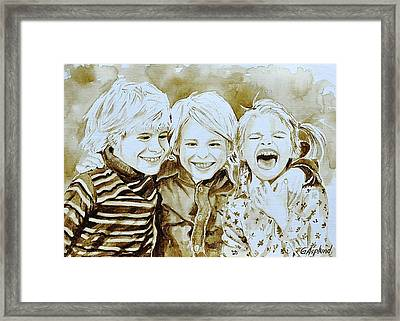 Siblings Fun Framed Print